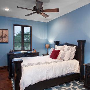 Immagine di una camera da letto stile americano con pareti blu e parquet scuro