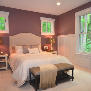 Design ideas for a mid-sized arts and crafts master bedroom in Grand Rapids with purple walls, carpet and no fireplace.