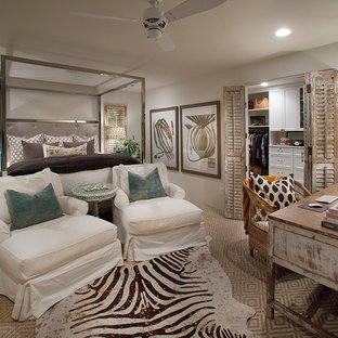 Example of a mid-sized eclectic master carpeted bedroom design in Phoenix with white walls and no fireplace
