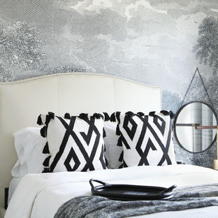 Inspiration for a classic bedroom in Austin with grey walls.