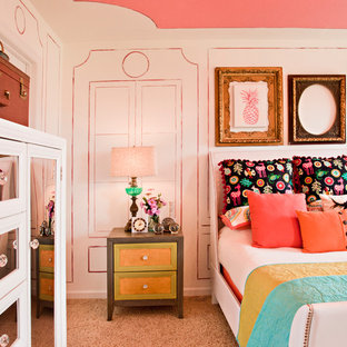 Inspiration for a mid-sized shabby-chic style bedroom in St Louis with pink walls and carpet.