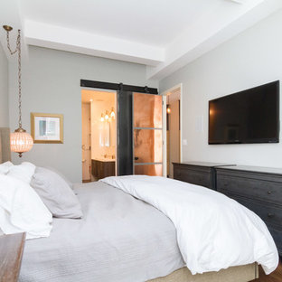 Bedroom - mid-sized contemporary master dark wood floor and brown floor bedroom idea in New York with gray walls and no fireplace