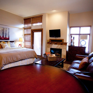 Design ideas for a small country master bedroom in Salt Lake City with grey walls, carpet, a tile fireplace surround and no fireplace.