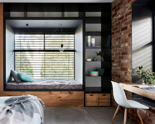 industrial schlafzimmer mit teppichboden ideen design bilder houzz. Black Bedroom Furniture Sets. Home Design Ideas