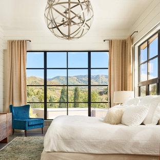 デンバーの中くらいのカントリー風おしゃれな主寝室 (白い壁、コンクリートの床、暖炉なし、グレーの床、塗装板張りの壁)