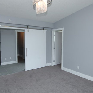Inspiration for a contemporary carpeted bedroom remodel in Edmonton with gray walls, a ribbon fireplace and a tile fireplace