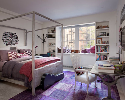 Mid Sized Eclectic Carpeted Bedroom Idea In New York With White Walls