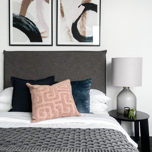 Inspiration for a contemporary bedroom in Sydney with white walls.
