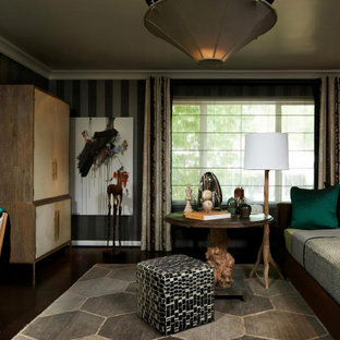 Example of a mid-sized transitional dark wood floor, brown floor and wallpaper bedroom design in Los Angeles with gray walls and no fireplace