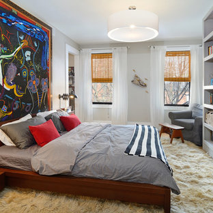 Bedroom - eclectic bedroom idea in New York with gray walls