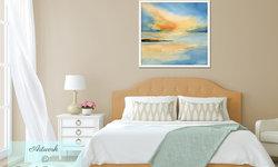 Peaceful Beach Bedroom with Framed Seascape Art