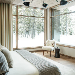 Mountain style medium tone wood floor and brown floor bedroom photo in Other with white walls