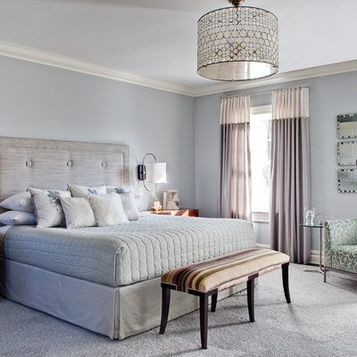 Inspiration for a large contemporary master carpeted and gray floor bedroom remodel in New York with gray walls and no fireplace