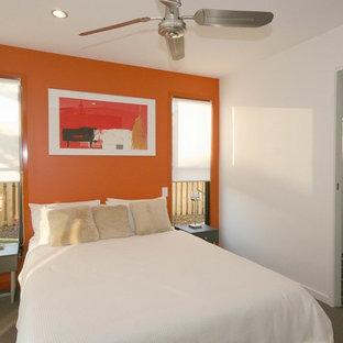 Esempio di una piccola camera degli ospiti contemporanea con pareti arancioni e moquette