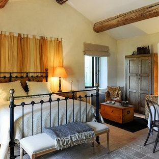 Ejemplo de habitación de invitados de estilo de casa de campo, de tamaño medio, con paredes multicolor, suelo de piedra caliza, chimenea tradicional y suelo multicolor