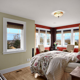Example of a classic bedroom design in Seattle with red walls