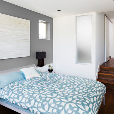 Inspiration for a contemporary dark wood floor bedroom remodel in Seattle with gray walls