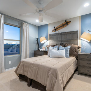 Inspiration for a mid-sized transitional guest carpeted and beige floor bedroom remodel in Phoenix with blue walls