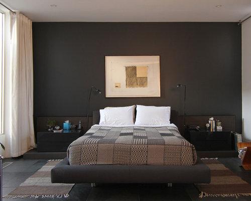 Camera da letto moderna con pareti nere - Foto e Idee per Arredare