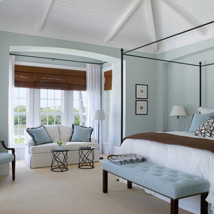 Inspiration for a timeless carpeted bedroom remodel in Miami with blue walls