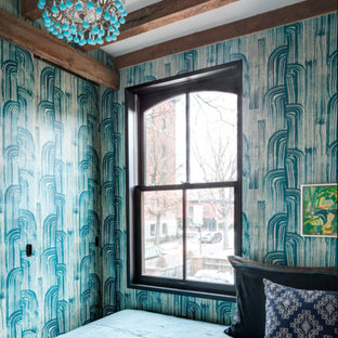 Eclectic bedroom photo in Cleveland with multicolored walls