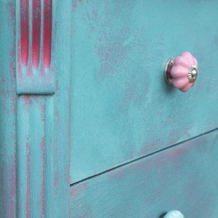 Idee per una camera da letto american style con pareti rosa