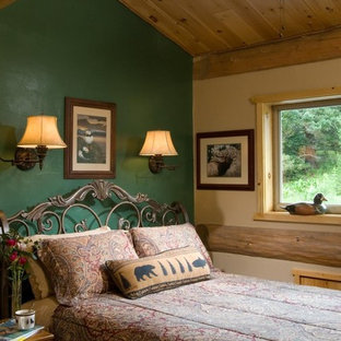 Inspiration for a rustic bedroom in Boise with green walls.