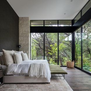 Ejemplo de dormitorio principal, contemporáneo, sin chimenea, con paredes negras, suelo de madera oscura y suelo marrón