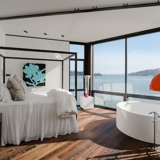 Mid-sized eclectic master dark wood floor and brown floor bedroom photo in San Francisco with white walls