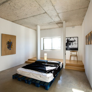 Example of a trendy concrete floor bedroom design in Other