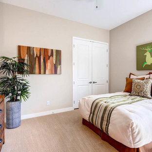 Mid-sized transitional guest carpeted bedroom photo in Las Vegas with beige walls and no fireplace
