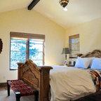 Master Bedroom With Wood Beams Mediterranean Bedroom