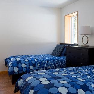 Diseño de habitación de invitados rústica, pequeña, con paredes blancas y suelo de corcho
