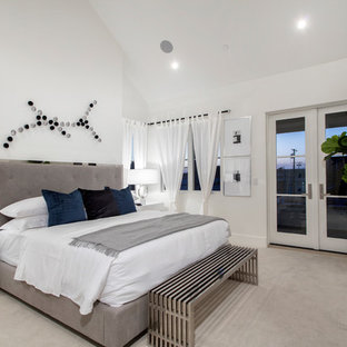 Transitional Carpeted And Gray Floor Bedroom Photo In Orange County With  White Walls, A Ribbon