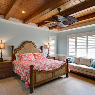 Inspiration for a mid-sized tropical master bedroom remodel in Miami with blue walls