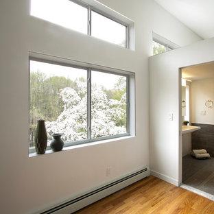 Example Of A Mid Sized Minimalist Loft Style Medium Tone Wood Floor And  Brown