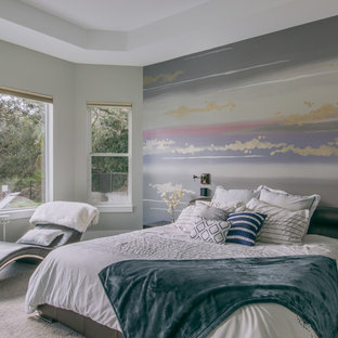 Large trendy master carpeted and gray floor bedroom photo in Jacksonville with multicolored walls