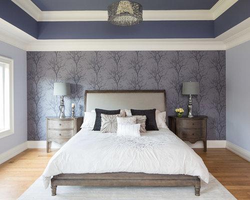 Large elegant master light wood floor bedroom photo in Toronto. Master Bedroom Wallpaper Ideas   Houzz