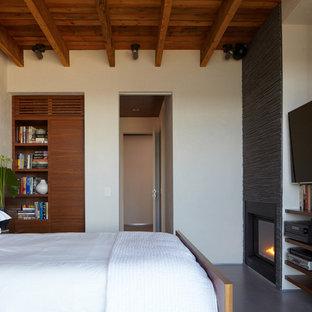 Неиссякаемый источник вдохновения для домашнего уюта: спальня среднего размера в стиле модернизм с белыми стенами, стандартным камином, бетонным полом и фасадом камина из металла