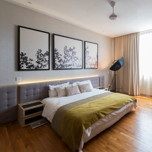 Design ideas for a contemporary bedroom in Singapore.