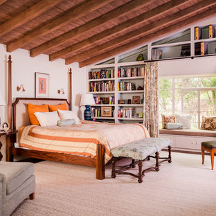 Large transitional master bedroom in Los Angeles with white walls, dark hardwood floors, no fireplace and brown floor.
