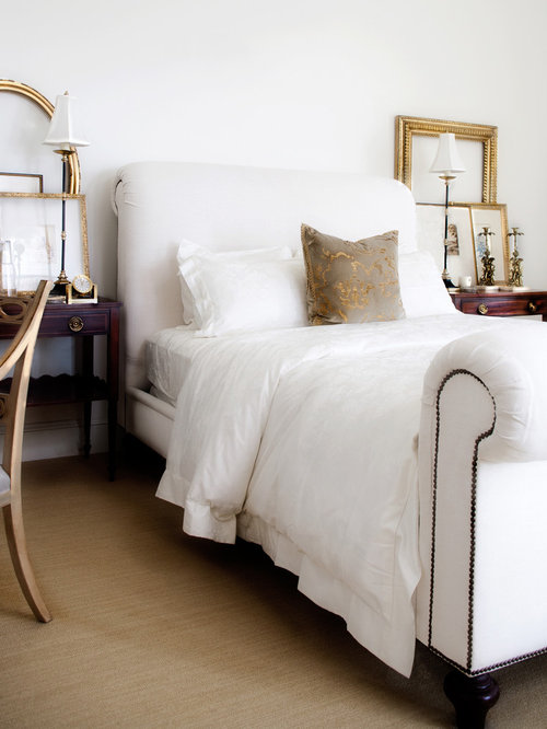 Example Of A Classic Carpeted Bedroom Design In Orange County With White  Walls
