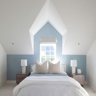 Bedroom - mid-sized modern master carpeted bedroom idea in Boston with blue walls and no fireplace