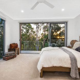 Contemporary master bedroom in Brisbane with grey walls, carpet and beige floor.