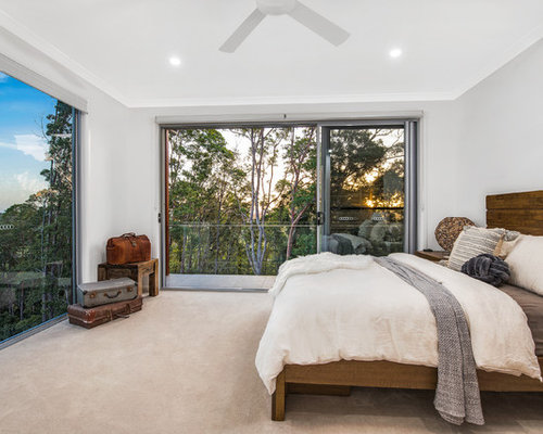 Contemporary Master Bedroom In Brisbane With Grey Walls, Carpet And Beige  Floor.