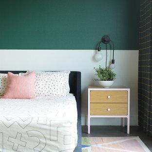 Danish gray floor bedroom photo in Minneapolis with green walls