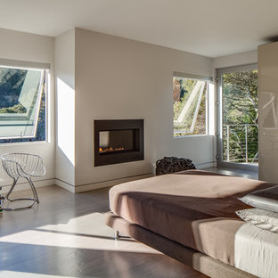 Large modern master bedroom in San Francisco with white walls, a ribbon fireplace, brown floor, medium hardwood floors and a metal fireplace surround.