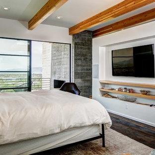Ejemplo de dormitorio principal, actual, sin chimenea, con paredes blancas, suelo de madera oscura y suelo marrón
