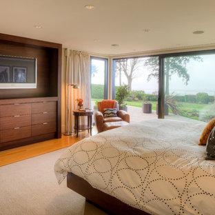 Ispirazione per una camera matrimoniale moderna di medie dimensioni con pareti gialle, pavimento in legno verniciato e pavimento marrone