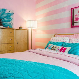 Photo of a medium sized classic bedroom in Other with pink walls.